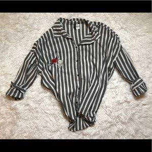 Grey & White Stripe Button-down with Embroidered